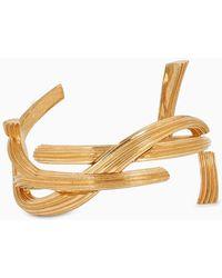 Saint Laurent - Bracciale rigido Monogram color oro - Lyst
