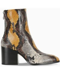 Aeyde Lidia Snake Print Boots - Brown