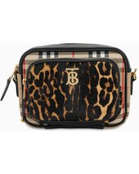 Burberry Haircalf Vintage Check And Leopard Print Camera Bag - Black