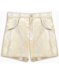 Manokhi Gold-tone Leather Shorts - Multicolor