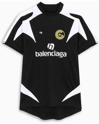 Balenciaga T-shirt oversize in mesh stampa Soccer - Nero