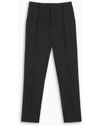 Saint Laurent High Waist Lamé Tennis Stripes Pants - Black
