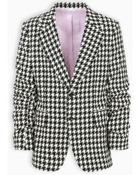 Gucci Houndstooth Ruched-sleeve Blazer - Black