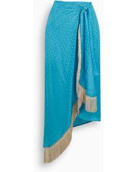 Art Dealer Turquoise Pois Silk Fringed Skirt - Blue