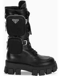 Prada Monolith Military Boots - Black