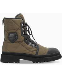 Ferragamo /black Quilted Combat Boots - Multicolor