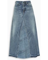 Saint Laurent High-waisted Denim Maxi Skirt - Blue