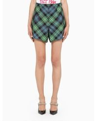 Philosophy Green And Blue Checked Shorts
