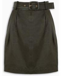 REMAIN Birger Christensen Black Leather Flora Skirt