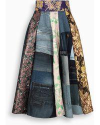 Dolce & Gabbana Patchwork-print Midi Skirt - Blue