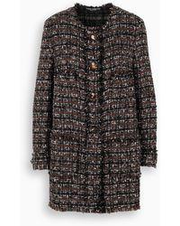 Dolce & Gabbana Cappotto monopetto in tweed - Nero