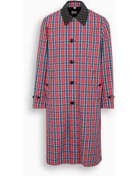 Burberry Car coat in twill di nylon tartan - Rosso