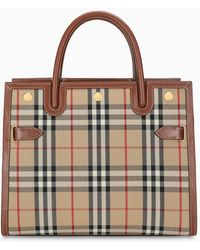 Burberry Sm Title Vintage Check Top Handle Bag - Brown