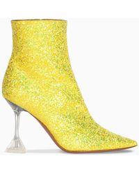 AMINA MUADDI Glitter Giorgia Booties - Yellow