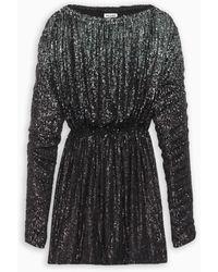 Saint Laurent Sequined Gathered Mini Dress - Black
