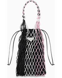 Prada Black And Pink Mesh Bucket Bag