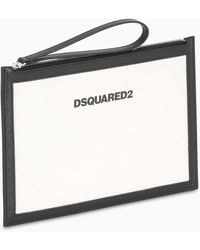 DSquared² White/black Leather And Canvas Pouch