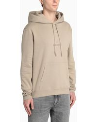 Saint Laurent Sand Hoodie With Logo - Natural