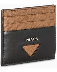 Prada Porta carte cannella e nero - Multicolore