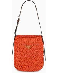 Prada Orange Raffia Bucket Bag - Red