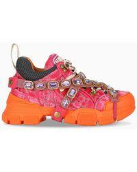 Gucci Sneaker Flashtrek arancioni e rosa