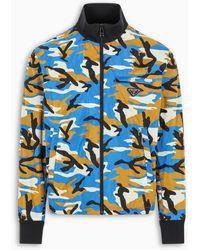 Prada Camouflage Print Bomber - Blue