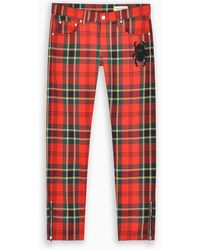 Alexander McQueen Pantalone slim con motivo tartan - Rosso