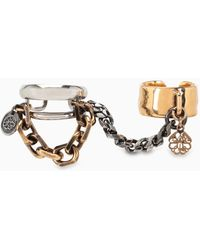 Alexander McQueen Chain Two-finger Ring - Metallic