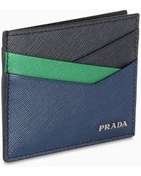 Prada Blue, Green And Black Card Holder