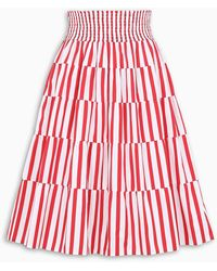 Prada Striped Poplin Skirt - Red