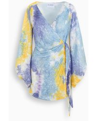 Art Dealer Multicolour Short Dress - Blue