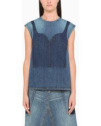 Alexander McQueen Top di jeans bustier - Blu
