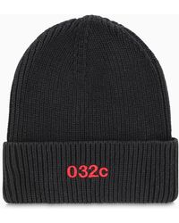 032c /red Beanie With Logo - Black