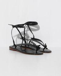 Martiniano Bibiana Leather Flat - Black