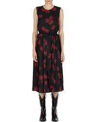 Simone Rocha Flower Print Sleeveless Dress - Black