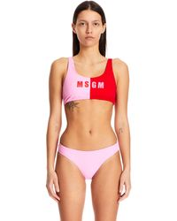 MSGM Two-tone Logo Swimsuit - Red