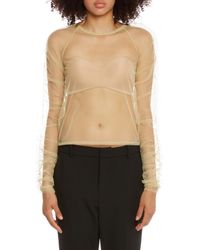 Molly Goddard Yellow Transparent Tulle Top - Multicolor