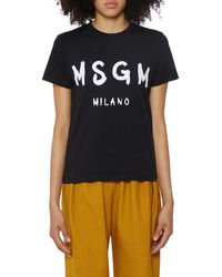 MSGM Icon Black Cotton T-shirt