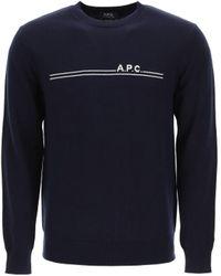 A.P.C. Pullover Eponyme con Intarsio Logo - Blu