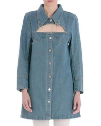 House Of Sunny Denim Dress With Crystals - Blue