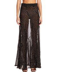 Ganni Long Semitransparent Skirt - Black