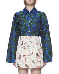 House Of Sunny Floral Print Crop Jacket - Blue