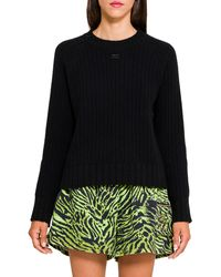Courreges Black Wool Ribbed Sweater