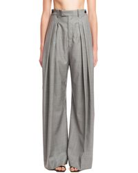 JW Anderson Pleated Wide Leg Suiting Trousers - Gray