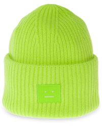 Acne Studios Pansy N Face Unisex Beanie - Green