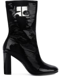 Courreges Two-tone Leather Half Boot - Black