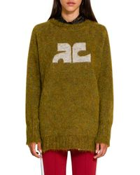 Courreges Mixed Mohair Wool Sweater - Green
