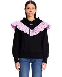 MSGM Sweatshirt With Rouches - Black