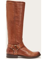 Frye Phillip Harness Tall Wide Calf - Brown