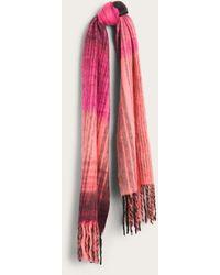 Frye Brushed Stripe Fringe Scarf - Red